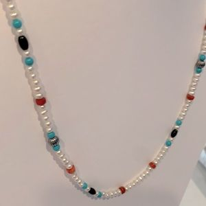 Cultured Pearl Turquoise Coral Onyx Bead Necklace